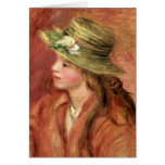 Pierre A Renoir | Young Girl in a Straw Hat Greeting Card