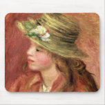 Pierre A Renoir | Young Girl in a Straw Hat Mouse Pad