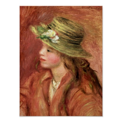 Pierre A Renoir | Young Girl in a Straw Hat Poster