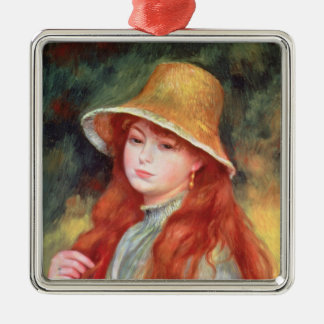 Pierre A Renoir | Young girl in a Straw Hat Silver-Colored Square Decoration