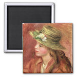 Pierre A Renoir | Young Girl in a Straw Hat Square Magnet
