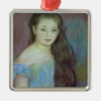 Pierre A Renoir | Young girl with blue eyes Silver-Colored Square Decoration