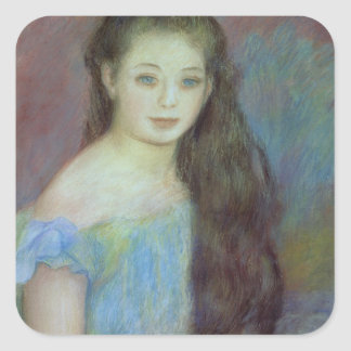 Pierre A Renoir | Young girl with blue eyes Square Sticker