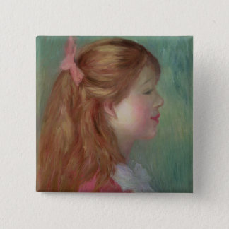 Pierre A Renoir | Young girl with Long Hair 15 Cm Square Badge