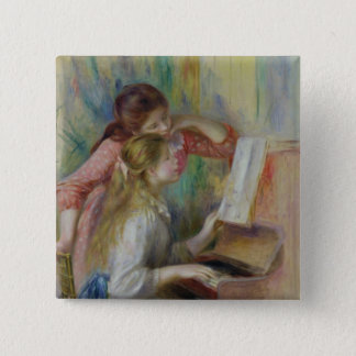 Pierre A Renoir | Young Girls at the Piano 15 Cm Square Badge