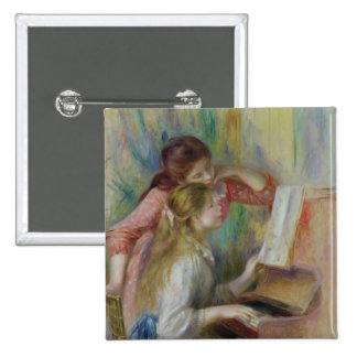 Pierre A Renoir   Young Girls at the Piano 15 Cm Square Badge