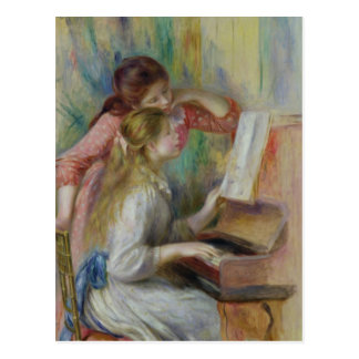 Pierre A Renoir | Young Girls at the Piano, c.1890 Postcard