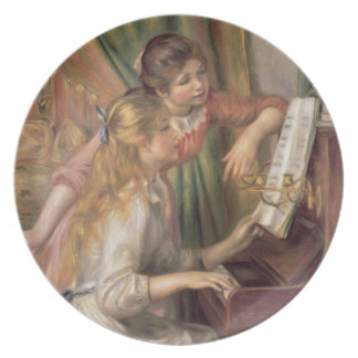 Pierre A Renoir | Young Girls at the Piano Party Plates