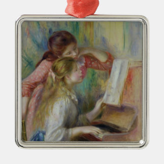 Pierre A Renoir | Young Girls at the Piano Silver-Colored Square Decoration