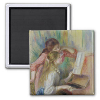 Pierre A Renoir | Young Girls at the Piano Square Magnet