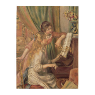 Pierre A Renoir | Young Girls at the Piano Wood Print