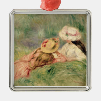 Pierre A Renoir | Young Girls on the River Bank Silver-Colored Square Decoration