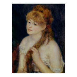 Pierre A Renoir | Young Woman Braiding her Hair Postcard