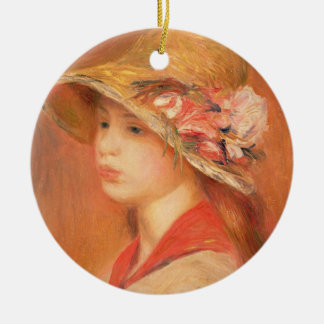 Pierre A Renoir | Young Woman in a Hat Round Ceramic Decoration