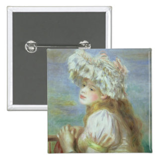 Pierre A Renoir | Young woman in a lace hat 15 Cm Square Badge