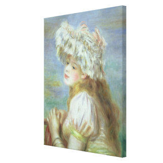 Pierre A Renoir | Young woman in a lace hat Canvas Print