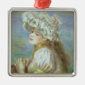 Pierre A Renoir | Young woman in a lace hat Silver-Colored Square Decoration