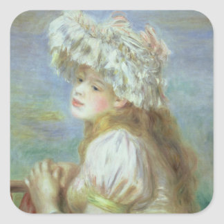 Pierre A Renoir | Young woman in a lace hat Square Sticker