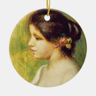 Pierre A Renoir | Young Woman with Flowers at Ear Round Ceramic Decoration