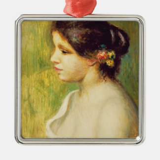 Pierre A Renoir | Young Woman with Flowers at Ear Silver-Colored Square Decoration