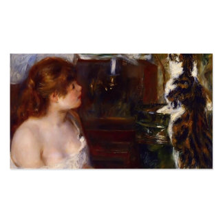 Pierre-Auguste Renoir- Girl and Cat Double-Sided Standard Business Cards (Pack Of 100)