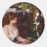 Pierre-Auguste Renoir- Girl and Cat Round Sticker