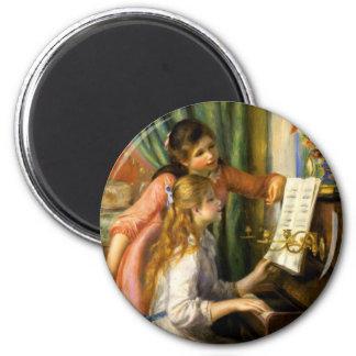 Pierre-Auguste Renoir - Jeunes Filles au Piano 6 Cm Round Magnet