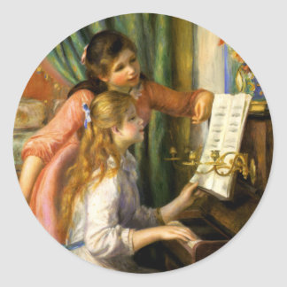 Pierre-Auguste Renoir - Jeunes Filles au Piano Classic Round Sticker