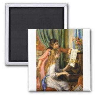 Pierre-Auguste Renoir - Jeunes Filles au Piano Square Magnet