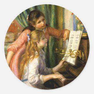 Pierre-Auguste Renoir - Jeunes Filles au Piano Round Sticker