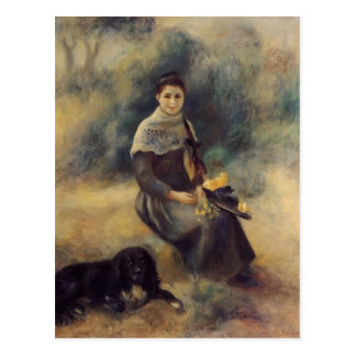 Pierre-Auguste Renoir- Young Girl with a Dog Postcard
