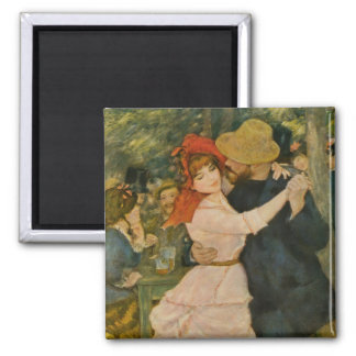 Pierre-Auguste Renoir's Dance at Bougival (1883) Square Magnet