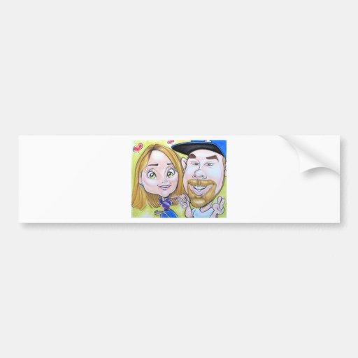 Pierre Bossier Mall Caricature Couple Dec 2012 Bumper Stickers