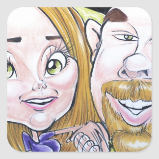 Pierre Bossier Mall Caricature Couple Dec 2012 Square Sticker