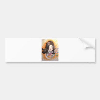 Pierre Bossier Mall Caricature Girl Playing Tennis Bumper Sticker