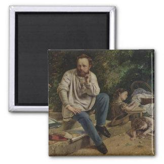 Pierre Joseph Proudhon  and his children Square Magnet