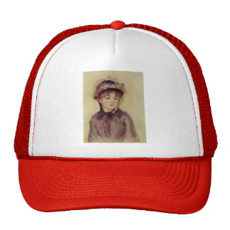 Pierre Renoir- Bust of a Woman Wearing a Hat