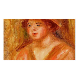Pierre Renoir- Bust of a Young Girl in a Straw Hat Business Card Templates