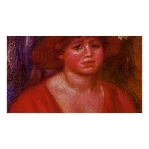 Pierre Renoir- Bust of a Young Woman in Red Blouse Business Card Template