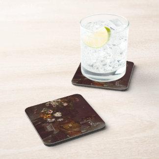 Pierre Renoir:Flowers in  Vase&Glass of Champagne Beverage Coaster