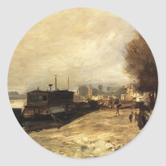 Pierre Renoir-Laundry Boat by Banks of the Seine Stickers