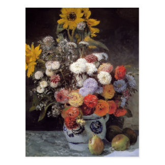 Pierre Renoir- Mixed Flowers In An Earthware Pot Postcard