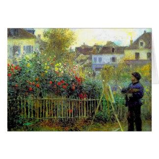 Pierre Renoir- Monet painting in his garden Greeting Card