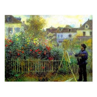 Pierre Renoir- Monet painting in his garden Postcard