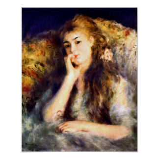 Pierre Renoir - Portrait of a girl in thoughts Poster