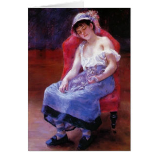 Pierre Renoir- Sleeping Girl (Girl with a Cat) Greeting Card