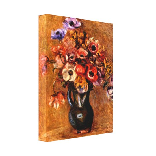 Pierre Renoir - Still life with anemones Canvas Print
