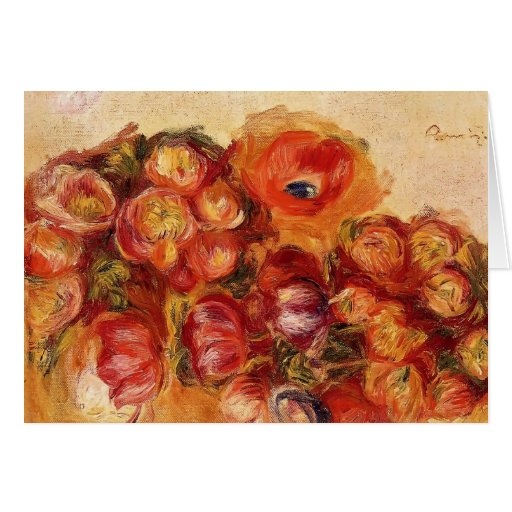 Pierre Renoir-Study of Flowers Anemones and Tulips Greeting Cards