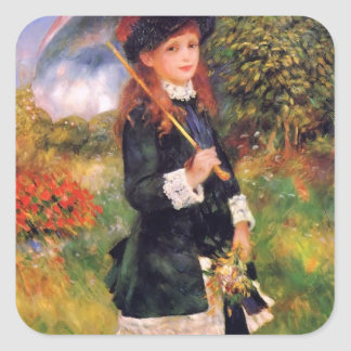 Pierre Renoir: Young Girl with a Parasol Square Sticker