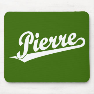 Pierre script logo in white mouse mat